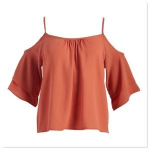 Apricot Cold Shoulder Tiered-Sleeve Top